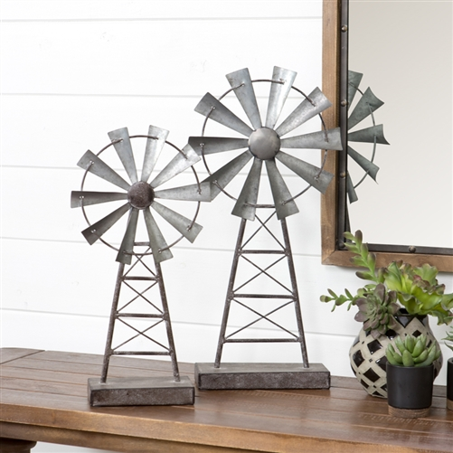 5124 Farmhouse Windmill Table Top Decor Set Of 2